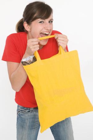 Baumwolltasche farbig, kurze Henkel