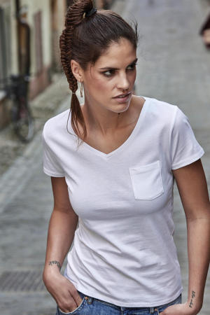 Ladies Luxury Pocket V-Tee
