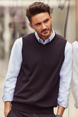Mens V-Neck Sleeveless Knitted Pullover