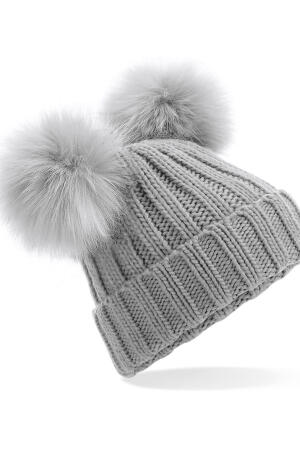 Faux Fur Double Pop Pom Beanie